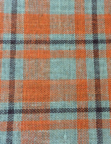 Orange Plaid Printed Burlap