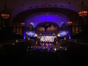 White Sharkstooth Scrim provides bleed-through effect at Moody Church holiday concert.