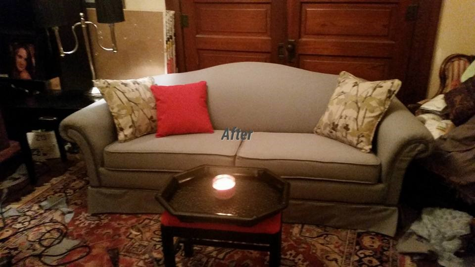 diy drop cloth upholstery customer photo