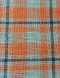Orange Plaid Printed Burlap