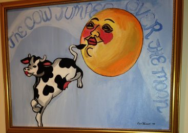 "Artist Suzie Wolkoff uses CCS's canvas for ""The Cow Jumped Over the Moon"" painting."