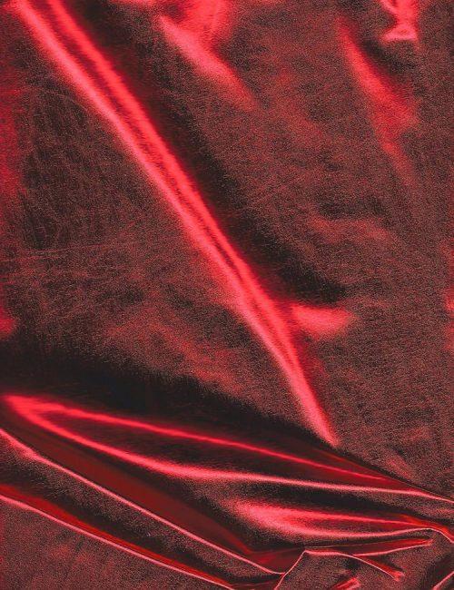 Metallic Spandex Fabric Red Foil
