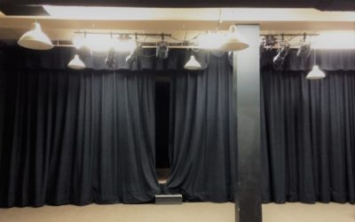 Example of black velour curtains - customer photo